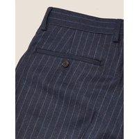 MandS Mens Navy Chalk Stripe Wool Tailored Trousers - 3031 - Navy Stripe, Navy Stripe