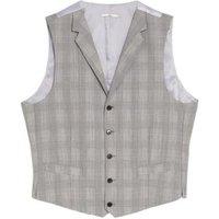 MandS Savile Row Inspired Mens Tailored Fit Wool Check Waistcoat - SREG - Grey Mix, Grey Mix