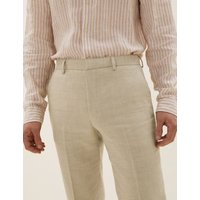 MandS Mens Tailored Italian Linen Miracle™ Trousers - 30REG - Neutral, Neutral,Navy