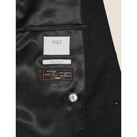 MandS Mens Slim Fit Italian Linen Miracle™ Jacket - 36SHT - Black, Black