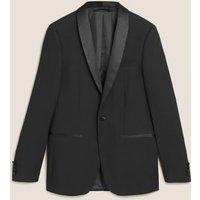 MandS Mens Black Textured Slim Fit Jacket - 34MED, Black