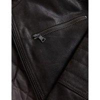 M&S Mens Leather Double Collar Utility Jacket - MREG - Chocolate, Chocolate