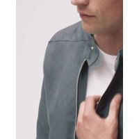 MandS Mens Faux Suede Biker Jacket - Grey, Grey,Tan,Black