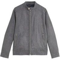 MandS Mens Faux Suede Biker Jacket - Grey, Grey,Black