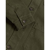 M&S Mens Cotton Twill Utility Jacket - S - Khaki, Khaki