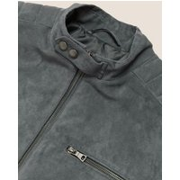 MandS Mens Faux Suede Padded Biker Jacket - M - Charcoal, Charcoal