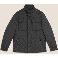 M&S Mens Quilted Jacket with Stormweartm - MREG - Black, Black,Khaki