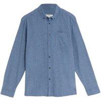 M&S Mens Pure Cotton Flannel Shirt - M - Light Blue, Light Blue,Dark Grey