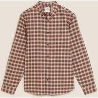 M&S Mens Pure Cotton Check Oxford Shirt - M - Burnt Orange, Burnt Orange,Dark Indigo,Teal Green