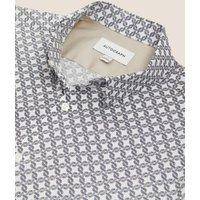 M&S Autograph Mens Cotton Print Shirt - XXXL - White Mix, White Mix,Navy Mix