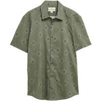 M&S Mens Pure Cotton Diamond Print Shirt - Khaki, Khaki