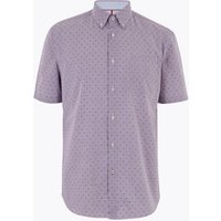 M&S Blue Harbour Mens Pure Cotton Check Shirt - Red Mix, Red Mix