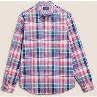 M&S Blue Harbour Mens Pure Cotton Check Oxford Shirt - Pink Mix, Pink Mix