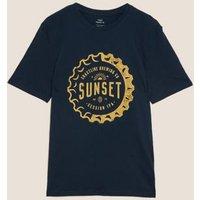 M&S Mens Cotton Graphic T-Shirt - MSTD - Dark Navy, Dark Navy
