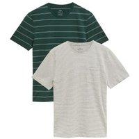 M&S Mens 2 Pack Pure Cotton Striped T-Shirts - XXLSTD - Green Mix, Green Mix,Berry