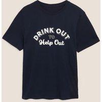 M&S Mens Pure Cotton Graphic T-Shirt - MSTD - Dark Navy, Dark Navy