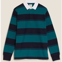 MandS Mens Pure Cotton Striped Rugby Top - SSTD - Teal Green, Teal Green