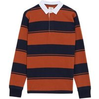 MandS Mens Pure Cotton Striped Rugby Top - MSTD - Toffee, Toffee,Teal Green