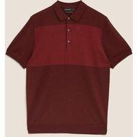 MandS Autograph Mens Silk Cotton Knitted Polo Shirt - XSREG - Berry, Berry