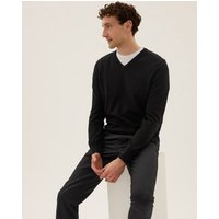 M&S Mens Pure Cotton Two Pack V Neck Jumper - SREG - Black, Black,Navy Mix,Navy