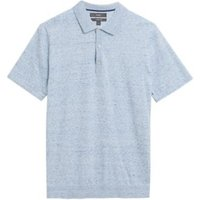 M&S Mens Cotton Knitted Polo Shirt - XSREG - Light Blue, Light Blue,Midnight Navy,White Mix