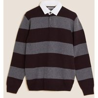 MandS Mens Pure Lambswool Striped Rugby Shirt - SREG - Burgundy Mix, Burgundy Mix,Blue Mix