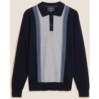 M&S Mens Cotton Block Stripe Knitted Polo Shirt - MREG - Blue Mix, Blue Mix