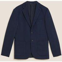 M&S Mens Slim Fit Cotton Jersey Blazer - SREG - Navy, Navy