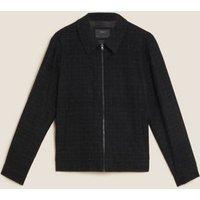 M&S Mens Wool Harrington Jacket - MREG - Dark Charcoal, Dark Charcoal