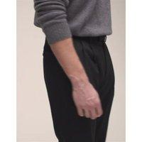 M&S Mens Regular Fit Wool Blend Twin Pleat Trousers - 32SHT - Black, Black