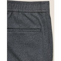 MandS Autograph Mens Slim Fit Textured Elasticated Trousers - 28REG - Navy, Navy