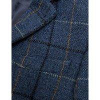 MandS Mens Regular Fit Pure Wool Check Tweed Blazer - 46REG - Blue, Blue