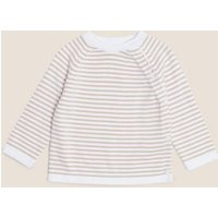 M&S Unisex Boys Girls 2pc Organic Cotton Striped Knitted Outfit (7lbs- 12 Mths) - NB - Opaline Mix,