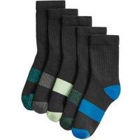 M&S Unisex Boys Girls 5pk Cotton Sports Socks - 8+-12 - Black, Black,White