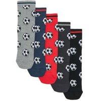 M&S Boys 5pk Cotton Football Socks - 12+3+ - Multi, Multi