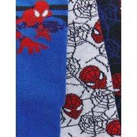 M&S Boys 3pk Cotton Spider-Mantm Socks - 6-8+ - Multi, Multi