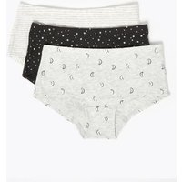M&S Girls 7 Pack Star Shorts (2-16 Yrs) - 2-3 Y - Carbon, Carbon
