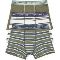 M&S Boys 3pk Cotton with Stretch Khaki Trunks (6-16 Yrs) - 7-8 Y, Khaki
