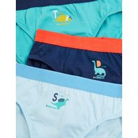 M&S Boys 7pk Pure Cotton Dinosaur Briefs (1-7 Yrs) - 1+-2Y - Multi, Multi