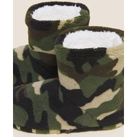 M&S Boys Kids' Camouflage Slipper Boots (5 Small - 7 Large) - 12 S - Green, Green