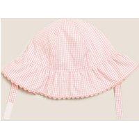 MandS Girls Kids Pure Cotton Seersucker Sun Hat (0-12 Mths) - 3-6 M - Pink Mix, Pink Mix