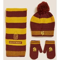 M&S Unisex Boys Girls Harry Pottertm Hat, Scarf and Glove Set(1-13 Yrs) - 12-18 - Red Mix, Red Mix