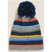 M&S Boys Kids' Striped Winter Hat (1-13 Yrs) - 18-36 - Navy Mix, Navy Mix