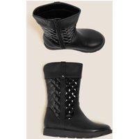 M&S Girls Kids' Freshfeettm Mid Calf Boots (5 Small - 121/2 Small) - 5 SSTD - Black, Black