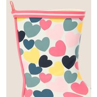 M&S Girls Kids' Heart Print Wellies (5 Small - 12 Small) - Pink Mix, Pink Mix