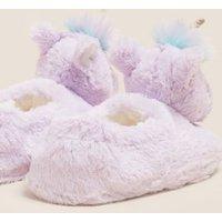 M&S Girls Kids' Unicorn Slippers (5 Small - 6 Large) - Lilac Mix, Lilac Mix