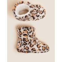 M&S Girls Kids' Faux Fur Leopard Slipper Boots (5 Small - 6 Large) - Brown Mix, Brown Mix