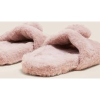 M&S Girls Kids' Heart Faux Fur Slippers (13 Small - 6 Large) - 1 L - Pink, Pink