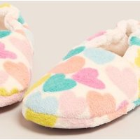 M&S Girls Kids' Heart Slippers (13 Small - 6 Large) - 2 L - Pink, Pink