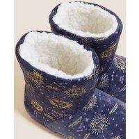 M&S Girls Kids' Harry Pottertm Slipper Boots (5 Small - 6 Large) - 1 L - Navy Mix, Navy Mix